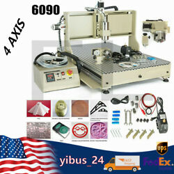 4 Axis Cnc 6090 Usb Router Engraving Engraver For Aluminum Plastic Plate 2.2kw