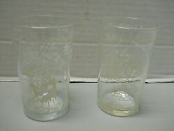 The Flintstones Welch Jelly Juice Promo Glasses 1962 Golf And Fishing Set Of 2