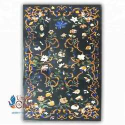 Marble Big Dining Table Top Collectible Inlay Floral Design Restaurant Furniture