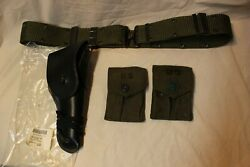 Us Military Issue Vietnam Era 1911 Leather Pistol Holster 2 Mag Pouches Belt P5