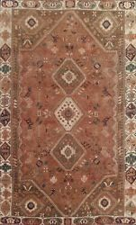 Antique Geometric Tribal Abadeh Area Rug Low Pile Wool Oriental Hand-knotted 6x9