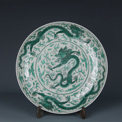 Antique Chinese Qing Dynasty Porcelain Green Dragon Plate Vintage Asian Saucer