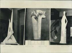 1964 Press Photo Abstract Sculptures Depict Everyday Jobs And Workers