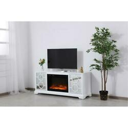 White And Mirrored Tv Stand Faux Logs Fireplace Insert Combo Storage Cabinet 60