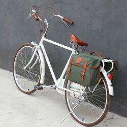City Cycling Vintage Style Bicycle Rear Rack Trunk Backseat Saddle Bags Luggage