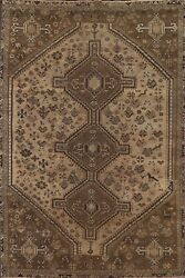 Antique Muted Tribal Abadeh Distressed Hand-knotted Area Rug Evenly Low Pile 6x9