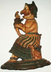 Antique Cast Iron Judy And Her Puppet And Cat Punch And Judy Door Stop English