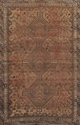 Antique Abadeh Geometric Hand-knotted Area Rug Wool Oriental Low Pile 6x9 Carpet