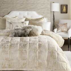 640 Michael Aram King Quilted Coverlet Ivory/soft Gold Metallic