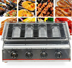 Gas Commercial Bbq Grill /lpg Gas Barbecue Oven Smokeless Stainless Steel