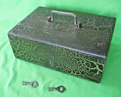Old Antique Aged Patina Heavy Metal Fire Proof Cash Strong Box With 2 Keys