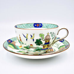 Aynsley Oriental Bridge Cup Saucer A1242 Hand Painted England C1905 Antique