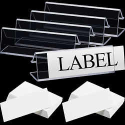 40 Pieces Plastic Label Holder Clear Wire Shelf Label Holder 3 X 0.875 Inches Cl