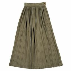 Issey Miyake Early 1980s Rare Initial Pleated Long Skirt Kahki 5l330