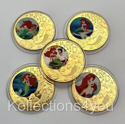 The Little Mermaid Gold Plated Coins Water Princess Disney Coins