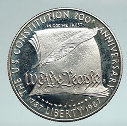 1987 United States Usa Constitution Quill Scroll Proof Silver Dollar Coin I90943