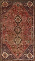 Antique Abadeh Geometric Hand-knotted Tribal Area Rug Traditional Oriental 5and039x9and039