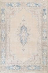Antique Muted Distressed Kirman Area Rug Hand-knotted Evenly Low Pile Wool 9x13