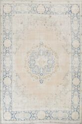 Antique Geometric Distressed Muted Kirman Hand-knotted Area Rug Oriental 8and039x11and039
