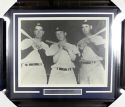 Mickey Mantle Joe Dimaggio And Williams Autographed Framed 16x20 Photo Jsa 129416