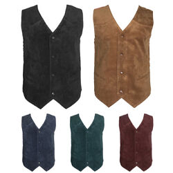 Men#x27;s Vest Soft Suede 4 Snap Closure Front Pockets Casual Western Sleeveless Top $15.88