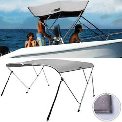 3 Bow Boat Bimini Top Canopy Cover Waterproof W/ Rear Poles 2 Straps 73and039and039-78 W