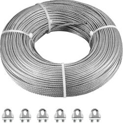 Vevor Aircraft Steel Cable Wire Rope 500and039 1/8 7x7 Galvanized Cable W/ Clamps