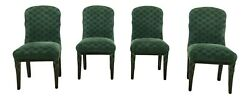 L32837ec Mirak Set Of 4 Italian Style Black Lacquer Upholstered Chairs