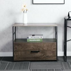 Lateral File Cabinet Filing Cabinets Storage With Drawer And Open Shelf Antique
