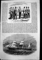 Antique Old Print 100th Wales Royal Canadian Regiment Line Mersey 1858