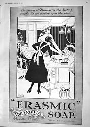 Old Print 1917 Erasmic Dainty Soap Perfumers Queen's Theatre Double Event 20th