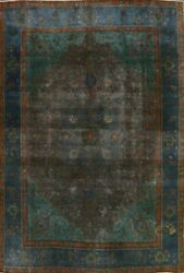 Antique Floral Overdyed Tebriz Area Rug Evenly Low Pile Oriental Handmade 8and039x11and039