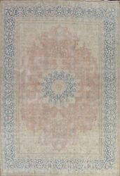 Memorial Sale Antique Muted Distressed Floral Kirman Hand-knotted Area Rug 10x13