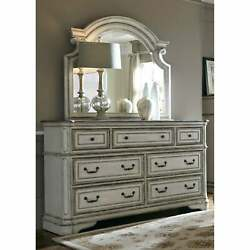 Magnolia Manor Antique White 7-drawer Dresser And Scroll Antique White N/a