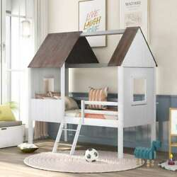 Twin Low Loft Wood House Bed With Two Side Windows Kids Teens Bedroom Furniture