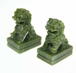 A Pair Natural China Green Jade Carved Fengshui Foo Fu Dog Guard Door Lion