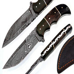 Custom Hand Made Damascus Skiner Knife Is Best Quality Overall Size 8.5 Inch Han