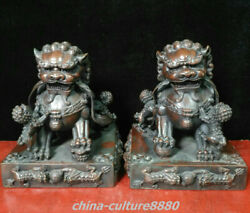 8.2 Rare Old Chinese Bronze Fengshui Foo Fu Dog Guardion Lion Leo Statue Pair