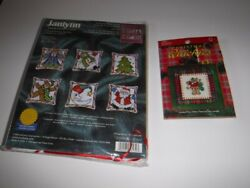 Lot Of 2 Janlynn Christmas Ornament Counted Cross Stitch Kits Candy Cane And Bear