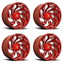 Set 4 20 Fuel D754 Reaction 20x10 Candy Red Milled 8x180 Truck Wheels -18mm