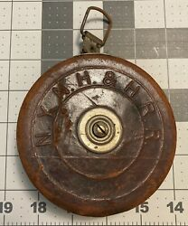 Vintage Keuffel Esser N.y. N.h. And H. Rr Tape Measure 50andrsquo Cloth Leather Used Vtg
