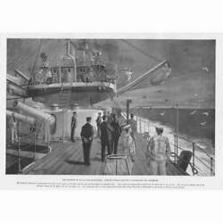 Royal Navy Carrier Pigeons Leaving A Battle Ship Off Plymouth Antique Print 1896