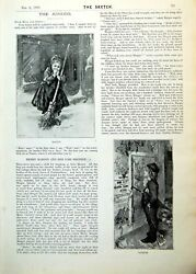 Antique Old Print Juniors Margot Jacques Wren Nest Sketch Crying Girl 1893 0