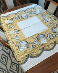 1950s Printed Linen Tablecloth Bucilla 52 Sq New With Tags Gold Recipes