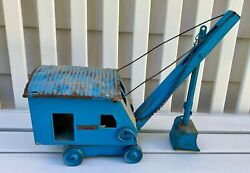 Structo Toy Blue Pressed Steel Crane Steam Shovel Without Tracks
