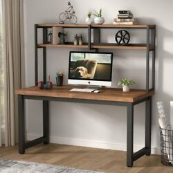 Tribesigns Solid Wood Computer Desk With Hutch 55 Rustic Brown Study Pc Table