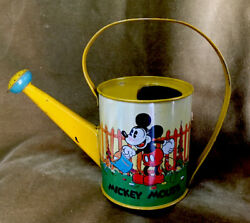 1937 Disney Mickey Mouse Tin Watering Can Sand Pail Ohio Art Large Size