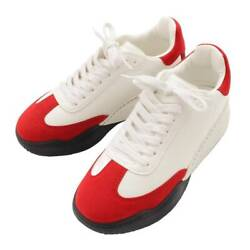 Auth Stella Mccartney Loop Lace-up Sneakers Leather White X Red 36 123671