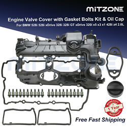 ⭐valve Cover W/ Gasket And Oil Cap For 12-18 Bmw 320i 328i 528i X3 X5 X1 Z4 2.0l⭐