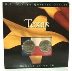 2004 Texas State Quarters Coins Of America U.s. Minted 28 Of 50 On Card